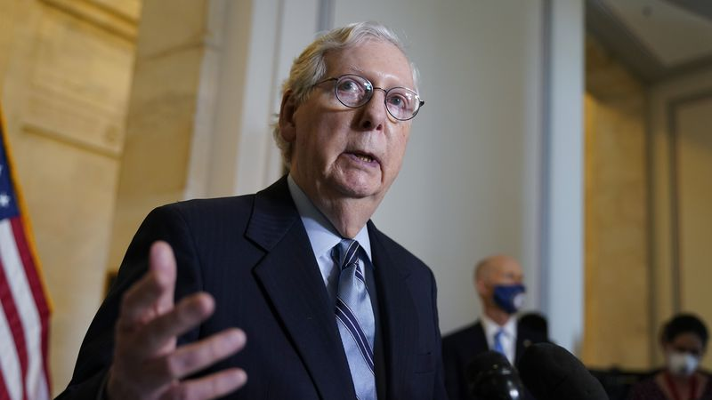 In this April 20, 2021, file photo, Senate Minority Leader Mitch McConnell, R-Ky., talks after...