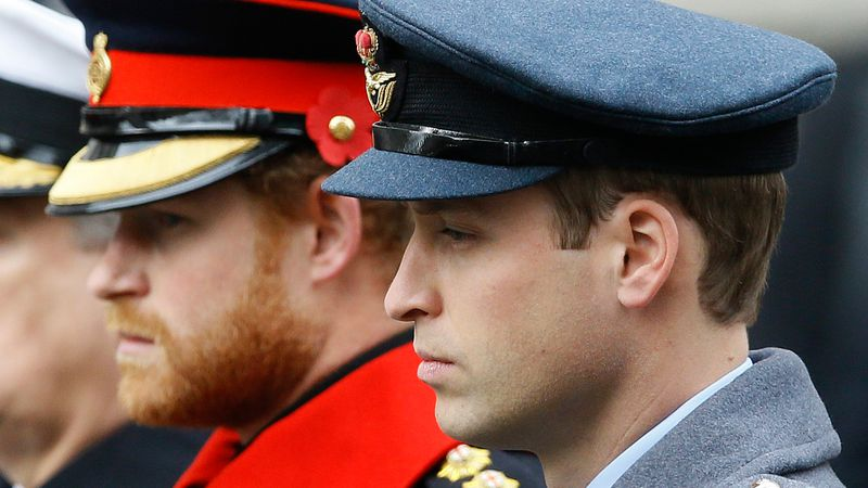 In this Sunday Nov. 8, 2015 file photo, Britain's Prince William, right, and Prince Harry...