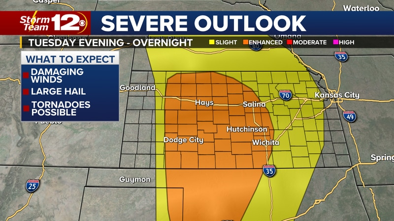 Severe weather risk area Tuesday evening and Tuesday night.