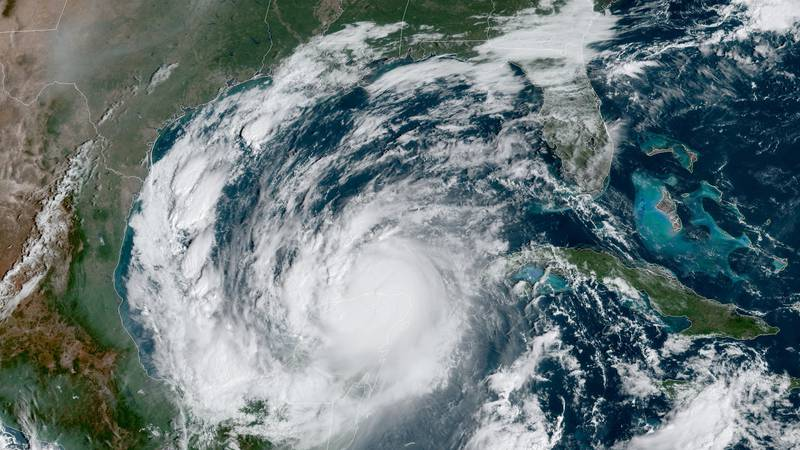 This Wednesday, Oct. 7, 2020 satellite image made available by National Oceanic and Atmospheric...