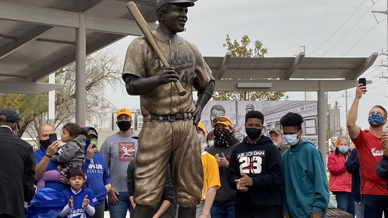 A statue honoring  Jackie Robinson was unveiled Thursday, April 15 at Wichita's McAdams Park.