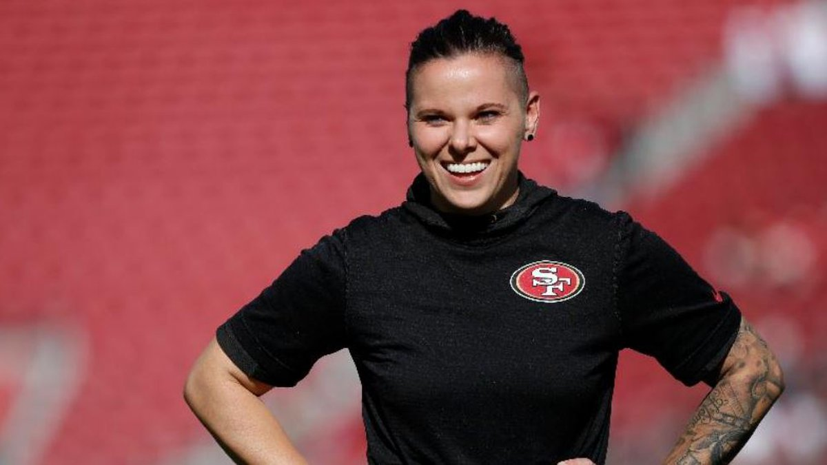 Katie Sowers, the second ever female NFL coach and the first to make it to a Super Bowl. (AP...