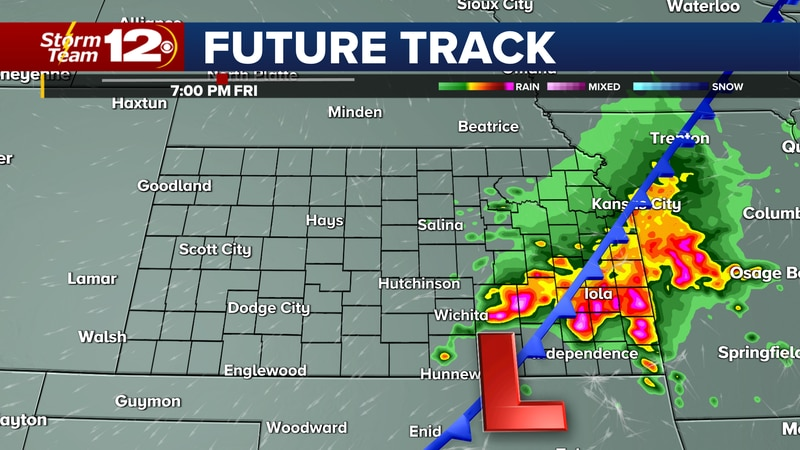 Large hail and damaging wind gusts will be possible in central and eastern Kansas this...