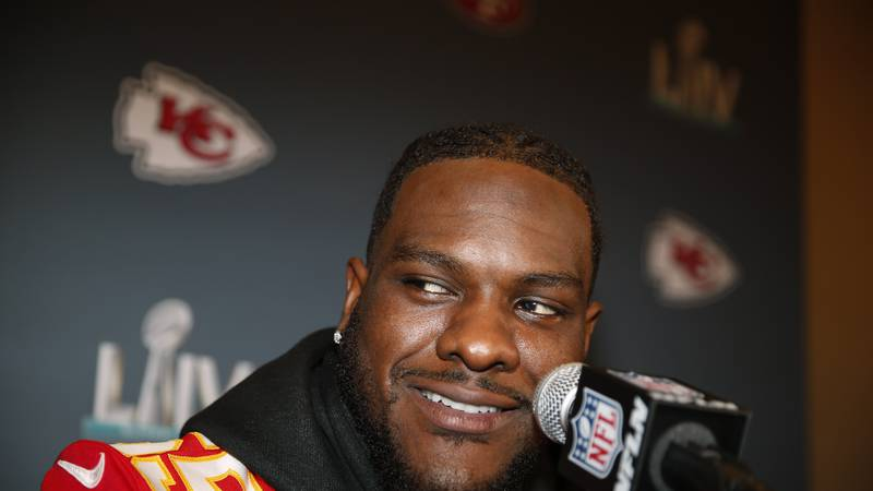 Kansas City Chiefs defensive end Frank Clark (55) during a news conference on Tuesday, Jan. 28,...