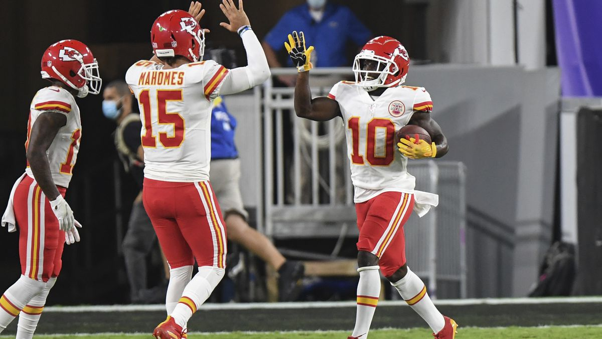 Kansas City Chiefs quarterback Patrick Mahomes (15) celebrates Kansas City Chiefs wide receiver Tyreek Hill (10) touchdown during first half of an NFL football game against the Baltimore Ravens, Monday, Sept. 28, 2020, in Baltimore. (AP Photo/Terrance Williams)