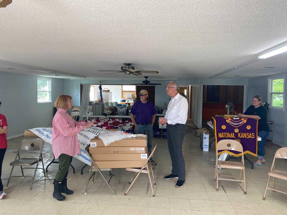U.S. Senator Jerry Moran visits Natoma, Kan. on Friday, May 21, 2021 as the town continues...