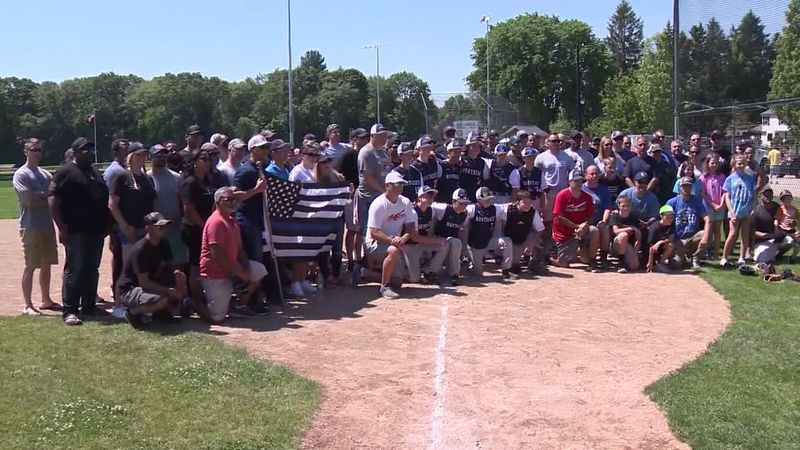 Jovan Familia, 13, played for his baseball club team just two days after his father's death....