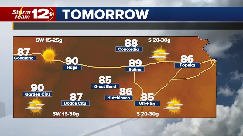 It's going to get warm and windy on Monday, then a cold front will bring storms into Kansas on...