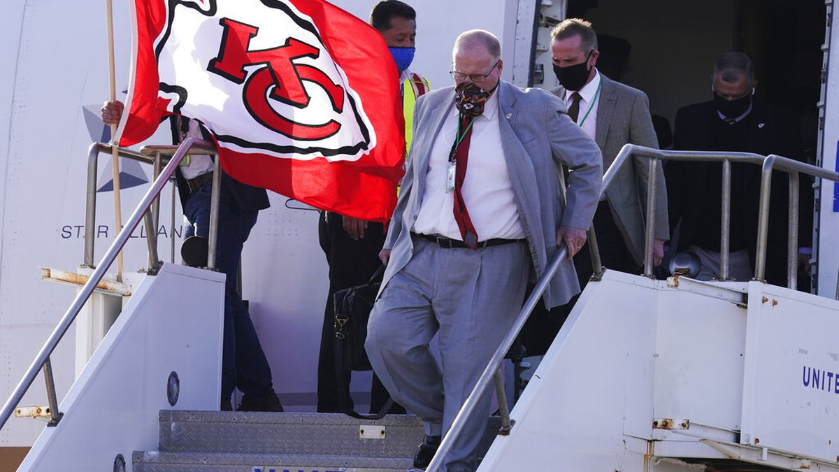 Kansas City Chiefs head coach Andy Reid arrives with his team for the NFL Super Bowl 55...
