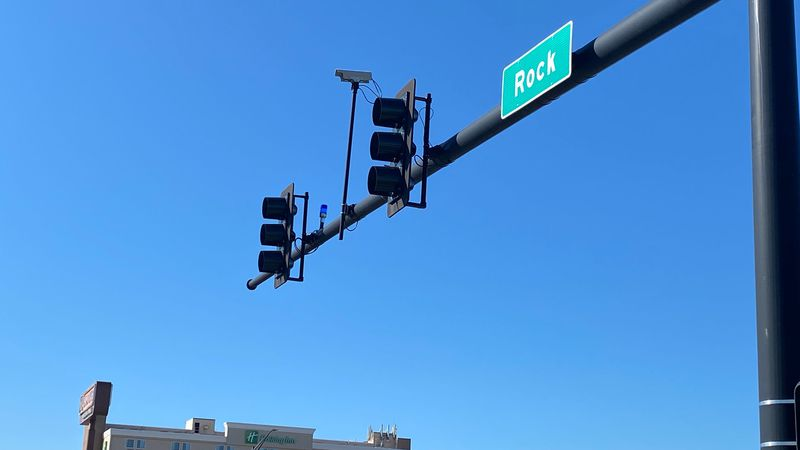 A blue light installed at Rock and Kellogg.